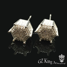 hip pop micro pave diamond white cubic zirconia silver square shaped screw back stud earrings designs for men