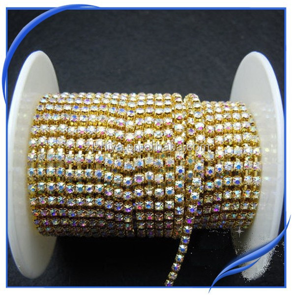 AB color ss12 square rhinestone roll cup chain 100yards/roll