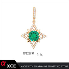 emerald shuriken shape pendant with best price