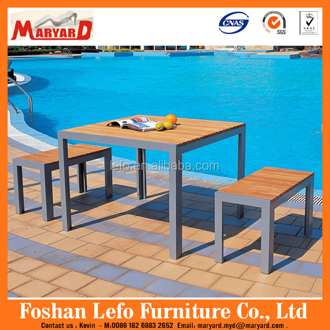Outdoor dining table set teak wood furniture