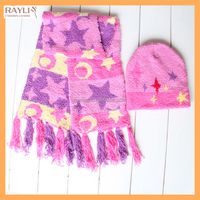kids Acrylic Winter knit beanie hat and scarf set