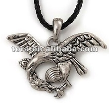 Fishion Silver Plated 'Eagle' Pendant On Black Leather Style Cord Necklace silver pendant fashion necklace 2012