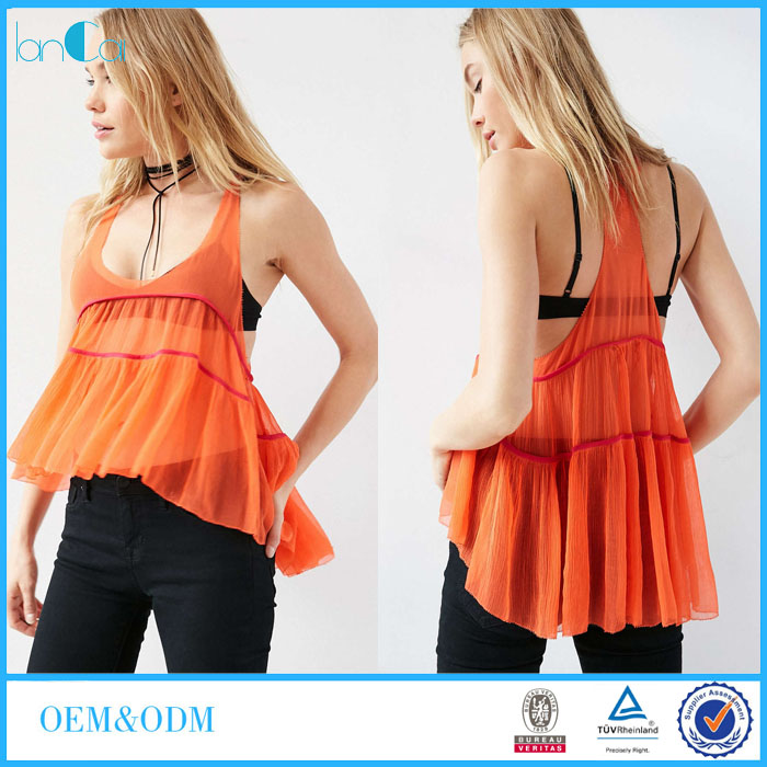 Hot Selling Summer Colorful Women Sexy Low Cut V-neck Fashion Cutting Blouse LC8261-N