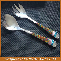 2015 new beaded stainless steel salad spoon and fork