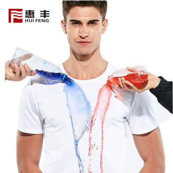 2019 New Custom Fashion 100% Polyester Plain Round Neck Waterproof T-Shirt