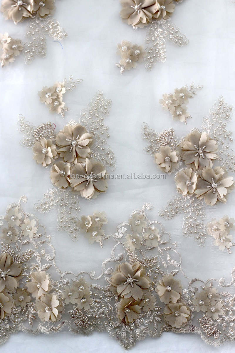 High fashion embroidered beaded french lace fabric bridal