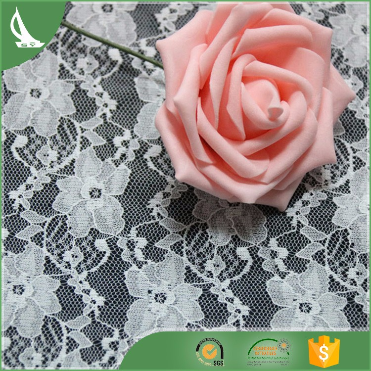 wholesale custom white stretch lace fabrics in roll