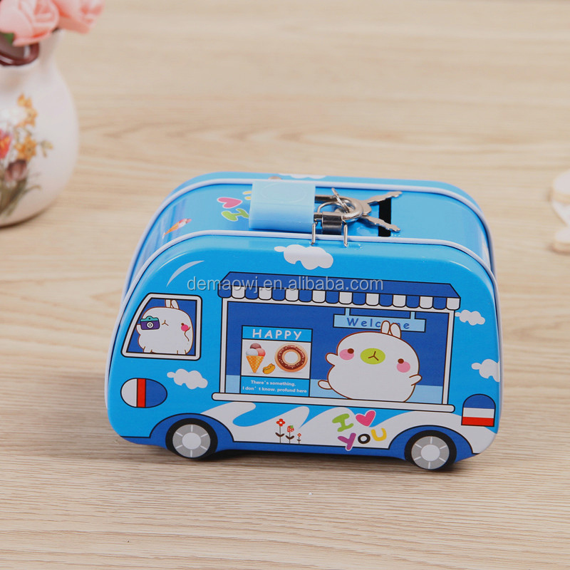China manufacturer wholesale innovation giftware metal tin bus shaped piggy bank