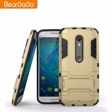 Best Selling TPU PC Kickstand for moto x style golden back case