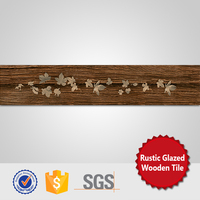 foshan glazed rustic leaves pattern brown wood ceramic floor tile