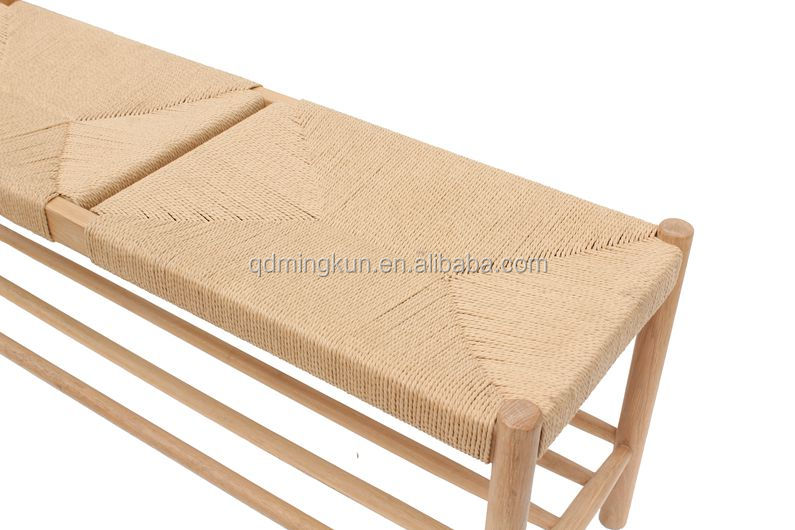 Modern style oak wood bench with paper string in natural color