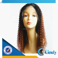 two tone ombre color long jerry curl full lace skin base wigs brazilian hair