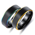 Marlary Fantasy Fashion Stripe Gold 316L Stainless Steel Black Ring
