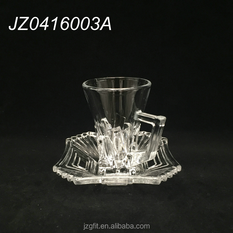 2017Hot sale wholesale cheap square design clear turkish glass tea cup&saucer with handle, square tea glass
