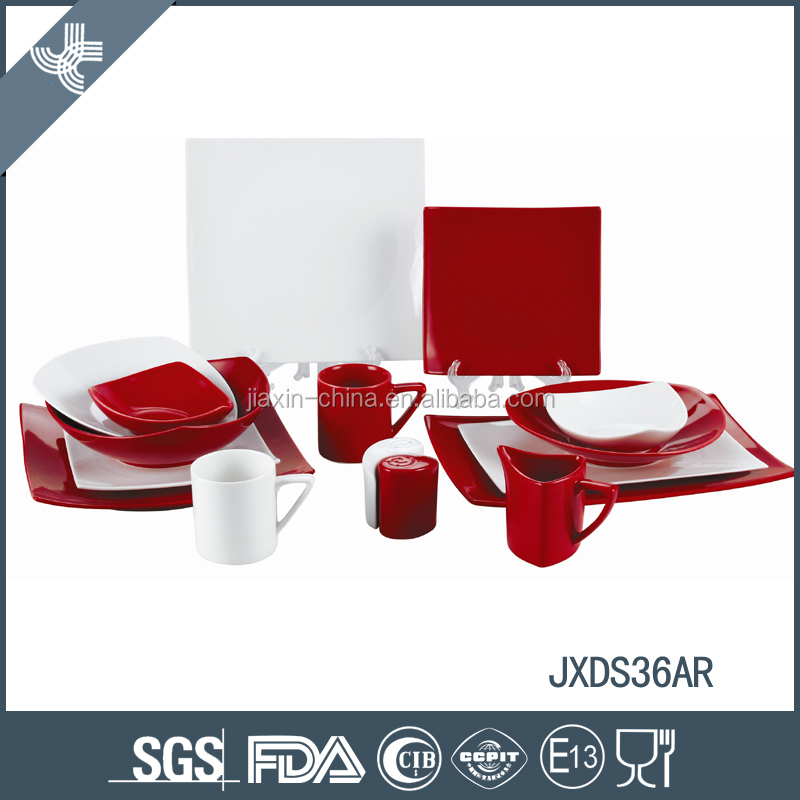 Fine Porcelain Dinner Set, Square shape, colored dinner set 36pcs