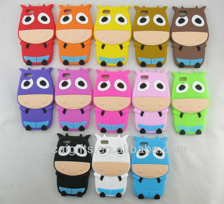 Cartoon cow silicon case For iphone 5