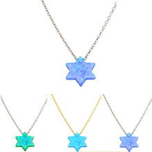 Cheap Price Opal 925 Sterling Silver Chain Necklace Jewelry Five Pointed Opal Gemstone Star Pendant