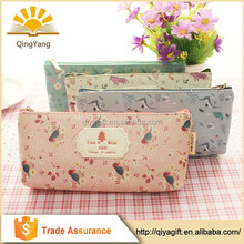 new fashion Floral printing pu zippered high school pencil case