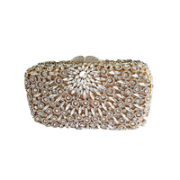High quality ladies crystal evening box clutch bags dinner party handbags