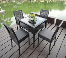 Folding Chairs Outdoor PE Rattan Aluminum Furniture Tempered Glass Top Dining Table with 4 Chairs Plastic Garden Chair