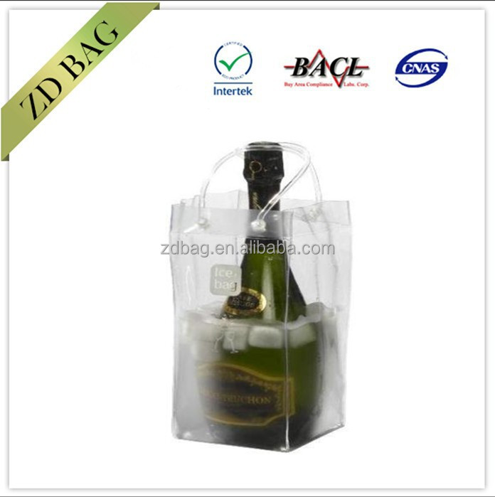 pvc champagne cooler bag, single bottle wine ice bag with logo