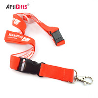 Double Clip Funny Airline Polyester Neck Custom Breakaway Woven Lanyard with logo custom