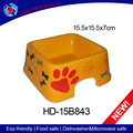 Square ceramic pet dog food bowl and cat orange feed troughs