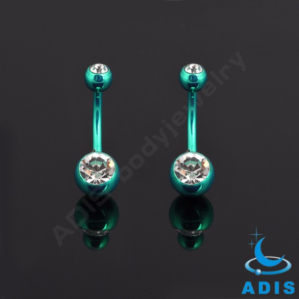Stainless steel double jewelled belly navel button piercings belly ring for women