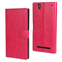 New Arrival Wallet Leather Flip Cover Case for Sony Xperia T2 Ultra with Card Slot