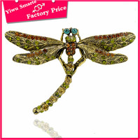 Hot new products for 2016 fashion fancy brooch pin jewelry cute antique gold metal dragonfly brooch top sale in chile