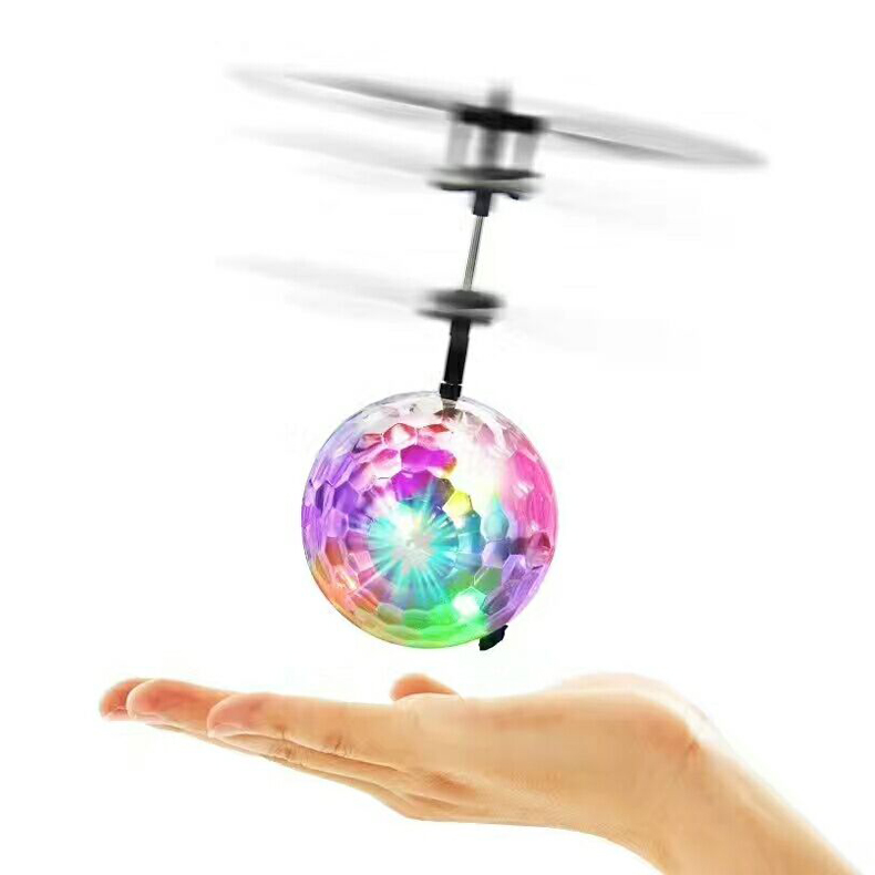 Mini flying toys plastic induction radio control flying ball helicopter with light