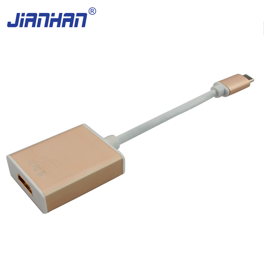 USB-C USB 3.1 Type C to HDMI 1080p HDTV Hub Adapter Cable with Silver Aluminium Case for Apple MacBook 12inch 2015