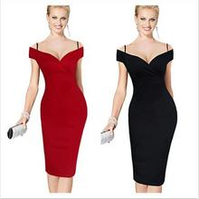 Aliexpress top sale cotton women office pencil dress spaghetti strap knee pictures office dress for ladies