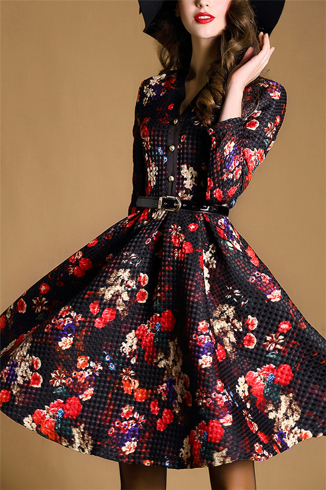 High quality women gown floral printed dress fashion design long sleeve dresses Z042