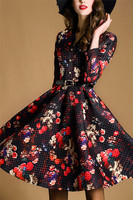 High quality womens clothing fall 2015 floral printed fashion design women dress Z042