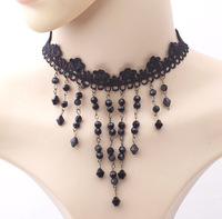 Long Black Crystal Beads Tassel Costume Women Necklaces Suede Velvet Collar Chokers For Lady