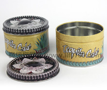 Decorative candle tin containers