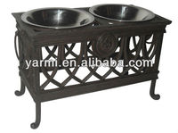 METAL DOG DOUBLE BOWLS WITH STAND