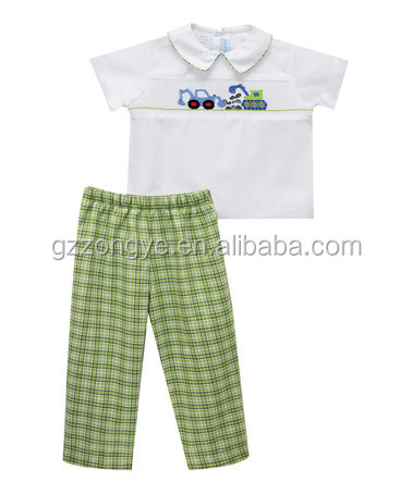 Wholesale short sleeve shirt & Plaid pants boys garments for 3-6 years