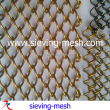 Flexible Gold Color Metal Mesh Fabric For Curtains, Metal Coil Wire Drapery For Restaurant