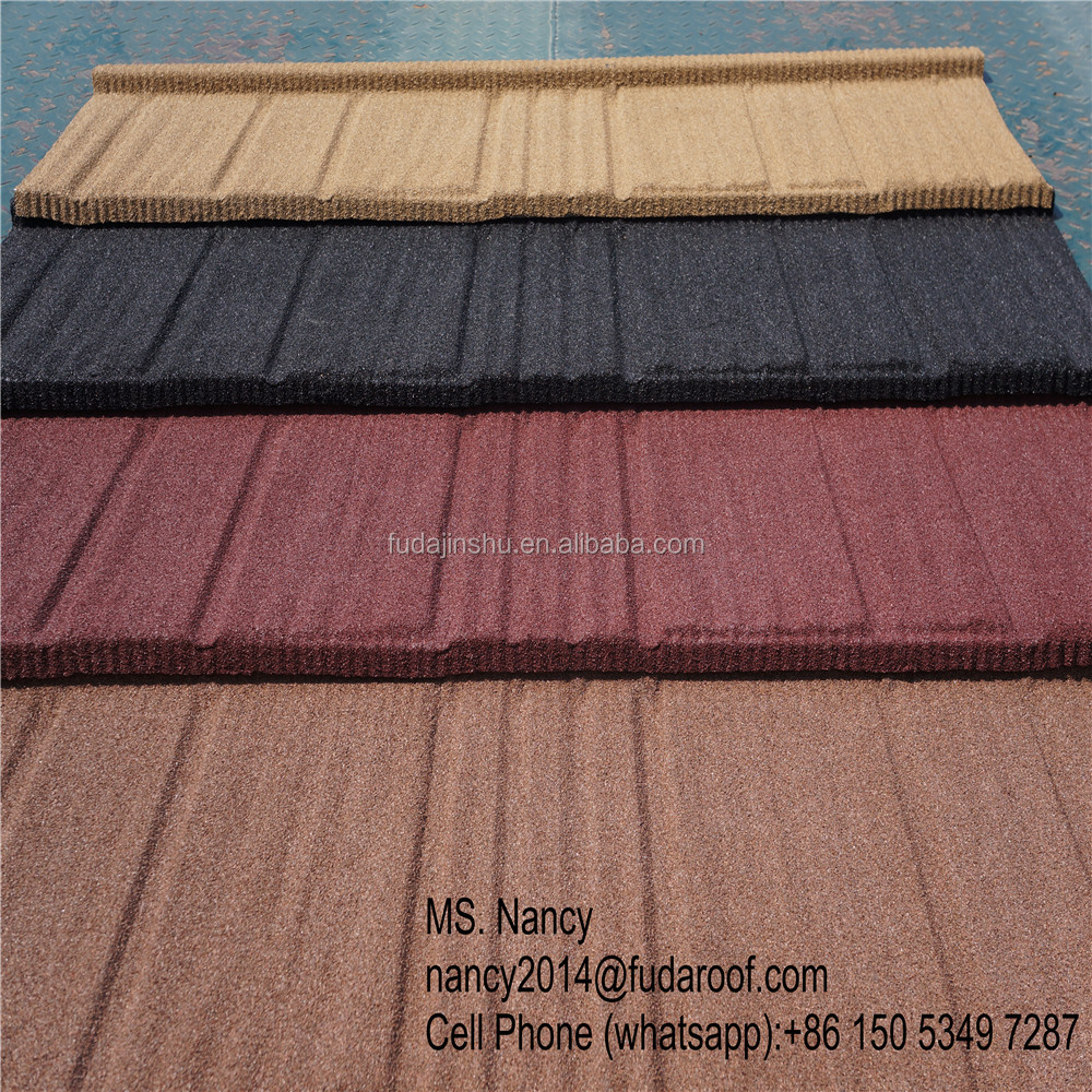easy installation shake/wood stone coated steel roof tiles