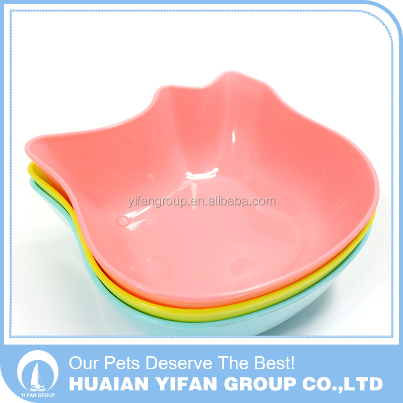 wholesale cat shaped pink PP pet dog eating bowl