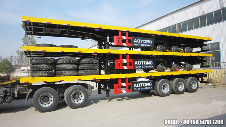 Tri-axle 50tons drop side wall bulk cargo transporting flatbed semi trailer truck for sale