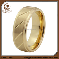 14K gold plating Stepped & grooved Brushed tungsten carbide wedding engagement ring