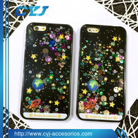 New product starry sky glitter flowing liquid star case for iphone 5 5s 6s 6s+