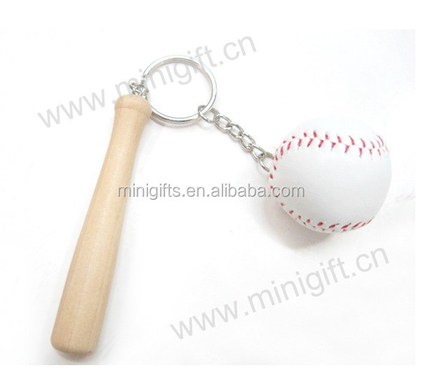 Custom various sports clup keychains cheap mini baseball bat wooden keychains