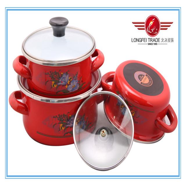 Hot selling rock-bottom price 3pcs set red enamel casseroles with black bottom from Longfei trade YiWu