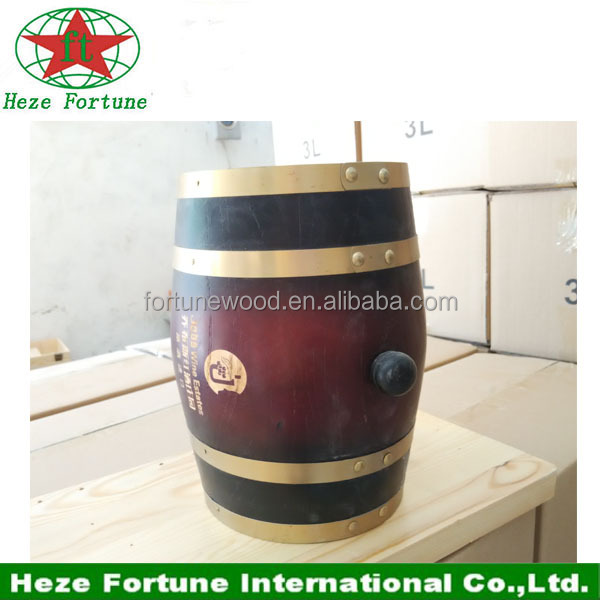 Pine wooden 3L red color <strong>barrel</strong> for wine packaging