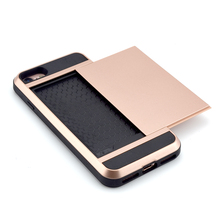 Mobile phone case with credit card cash holder wallet case for Iphone 6 6s 5 5s plus with sliding compartment slot fits 2 cards