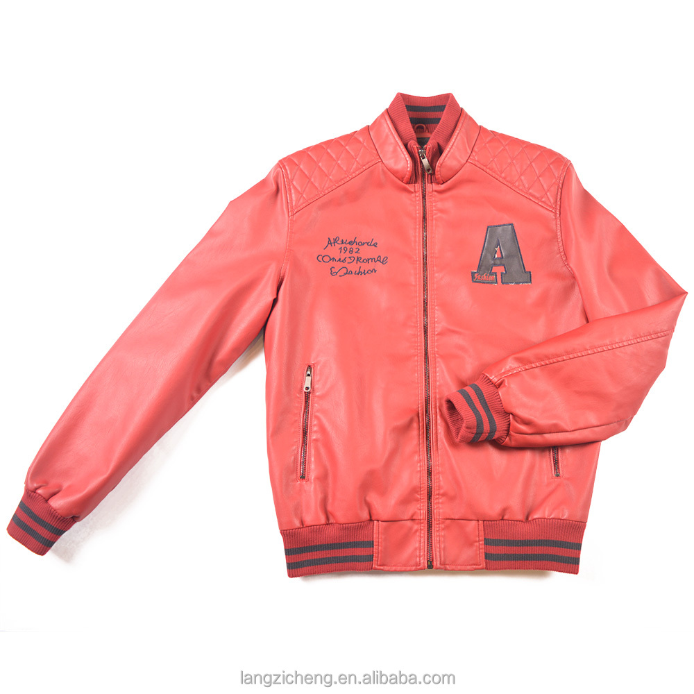Red Man Printed Leather Bomber Varsity Jacket Winter Jacke With Chest Patch